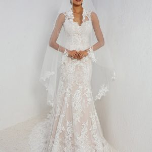 Justin Alexander Wedding Dress Style 88006 Front with Veil