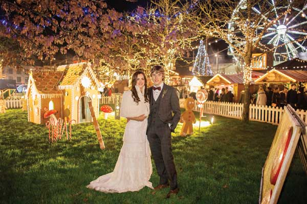 Elaine and John's Real Wedding Christmas Lights in Eyre Square